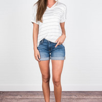 Chic Point Of View Top, Off White-Heather Gray