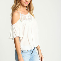 IVORY CROCHET OFF SHOULDER CREPE TOP