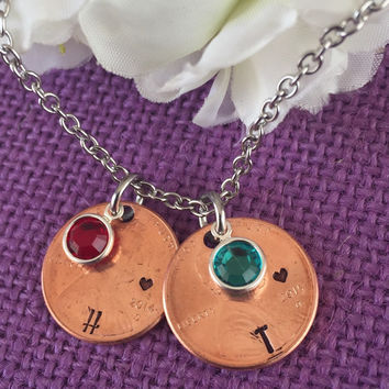 Pennies from Heaven - Mothers necklace - Family Necklace - Penny Charms - Penny name charms - Birthstone - mom necklace - year necklace