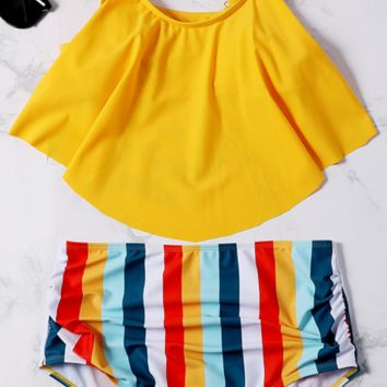 Yellow Flounce Stripe High Waisted Bikini Sets