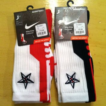 Nike Elite Sock 2.0 USA Olympic Basketball Socks White Navy Red Star LARGE