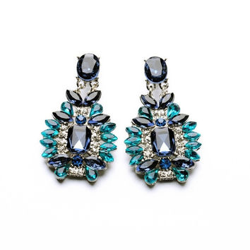 Fashion New Women Square Crystal Blue Rhinestone Elegant Silver Stud Dangle  Earrings Hot (Color  d1d01fa5770f