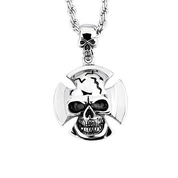 Skull Pendant 316L Stainless Steel Mens Necklace with Chain