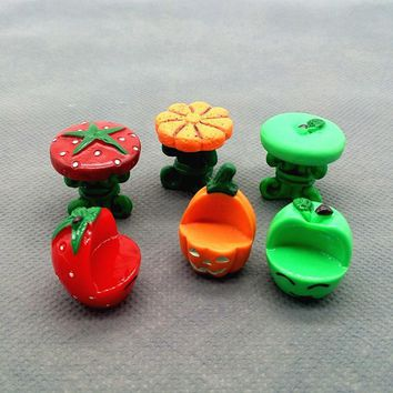 Pumpkin Chair Desk Set Miniature Dolls House Garden Bonsai Decoration Mini Dollhouse Toy Craft Ornaments Micro Decor DIY Gift