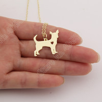1 Pcs Gold Chihuahua Necklace Pendant Puppy Heart Dog Lover Memorial Pet Necklaces & Pendants Women Animal Charms Christmas Gift