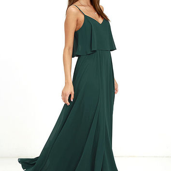 Love Runs High Forest Green Maxi Dress