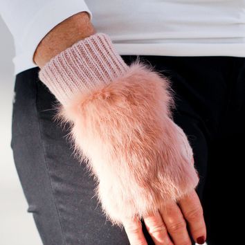 Faux Fur Top Fingerless Gloves