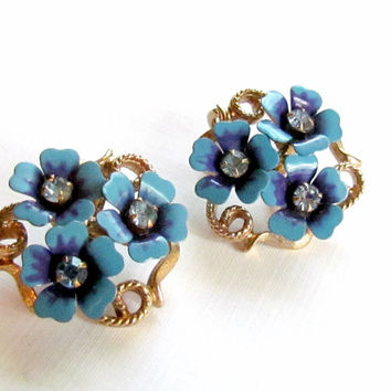 Blue Enamel Flower Earrings Avon 'Love Blossoms'