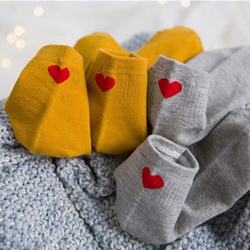 Women Cute Embroidery Heart Love Envelope Socks