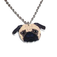 Pug Necklace, Cute Dog Face, Acrylic Jewelry