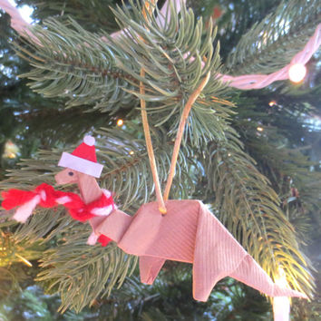 Origami Dinosaur Ornament, Brontosaurus with Santa Hat and Scarf, Brown
