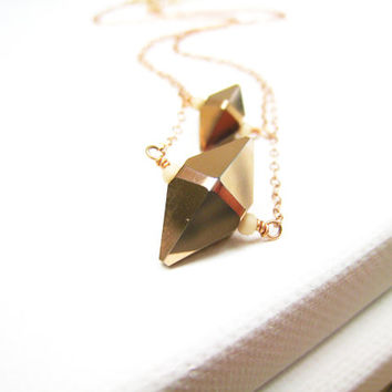 Rose Gold Crystal Spike Necklace Double Strand Minimalist Swarovski Crystal Blush Jewelry Simple Geometric Cone Gift