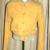 NOS Vintage Gianfranco Ferre Yellow Italian Suede Bomber Jacket, Antique Alchemy