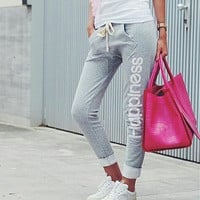 Fashion Print Strappy Pants Trousers Sweatpants