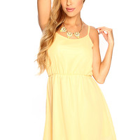 Yellow Floral Crochet Sleeveless Cute Casual Summer Dress
