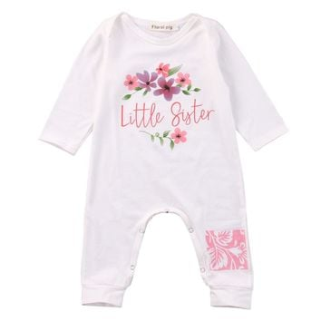 Cute Newborn Baby Girls Clothes Romper Long Sleeve Little Sister Floral Bebes Rompers Playsuit One Pieces Outfit Sunsuit