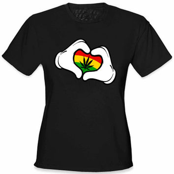 Cartoon Hands Rasta Colors Pot Girl's,T-shirt,T shirt dope,Custom T shirt,Hoodies,Girls Hoodies,Sweatshirts,Funny T shirt,Awesome T shirt
