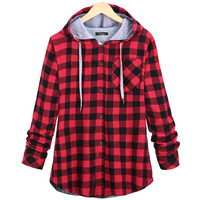 Christmas Plaid Loose Hoodie Plus Size Coat