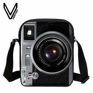 2018 VEEVANV Men Messenger Bags Vintage Camera Printing School Bags Casual Children Fashion School Shoulder Crossbody Bag Small