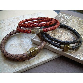 Mens Double Wrap Braided Leather Bracelet with Antique Brass Magnetic Clasp,Leather Bracelet, Mens Bracelet,Mens Jewelry,Braided Bracelet,
