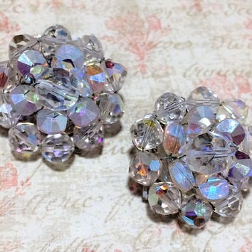 Marvella Aurora Borealis Earrings Faceted Crystal Glass Beads Clip On Mid Century Bridal Jewelry Silver Tone Setting 318