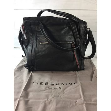 Liebeskind Oil Black Sporty Vintage Leather Satchel (NWT)