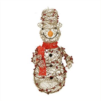 "28"" Lighted Champagne Gold Glittered Rattan Berry Snowman Christmas Yard Art Decoration"