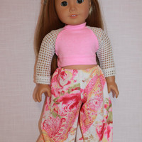 18 inch doll clothes, Harem, dance, yoga pants, and pink crop top with mesh sleeves, Upbeat Petites,  maplelea