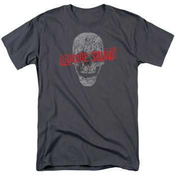 SUICIDE SQUAD SKULL OFFICIAL DC LICENSED TEES HOODIES (CHARCOAL)