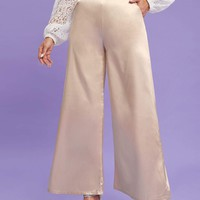 High Waist Wide Leg Satin Pants