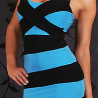 Blue and Black Spaghetti Strap Striped Dress
