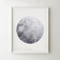 Full moon poster, Moon art print, Astronomy poster, Moon print, Printable black and white Modern art, Grey poster Watercolor print 16x20 art