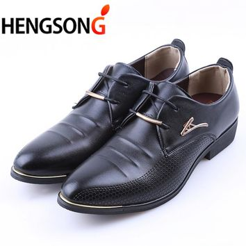 New 2018 Spring Men Leather Dress Shoes Luxury Brand Men's Business Shoes For Men Shoes Pontied Toe Lace-Up Flats Black Size 45