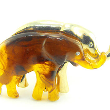 Vintage Elephants Brooch Amber Lucite Gold Tone Beauty Rhinestone Accents Figural Elephants Designer Signed