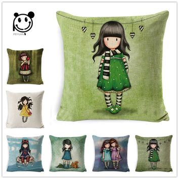 Harajuku Cute Little Girl Pillowcase Cotton Linen Seat Throw Pillow Cover Home Decor
