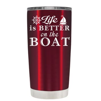 TREK Life is Better on the Boat on Translucent Red 20 oz Tumbler Cup