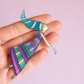 Fairy Brooch or Necklace by lacravatteduchien on Etsy
