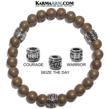 Motivation Mantra Bracelet | Matte Copper Hematite | COURAGE | SEIZE THE DAY | WARRIOR Jewelry