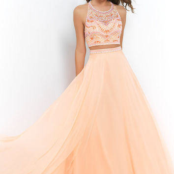 Custom Size Peach Orange Two Piece Halter Boat Neck Formal Evening Dresses with Bead Crystal Work Long Prom Ball Party Bridesmaid Homecoming
