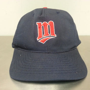 Vintage 90's Minesota Twins Snapback Dad Hat MLB Baseball Wisconsin Made By Drew Pearson