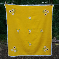 Polish Yellow Tablecloth, Topper, Hand Embroidered White & Green Flowers, Table Linen, Crochet Edging Polish Folk Table topper Polish linens