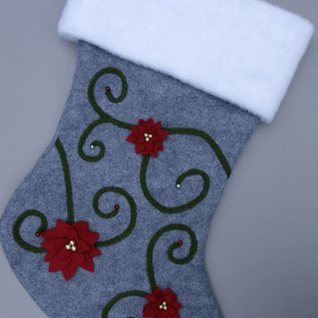 Poinsettia Christmas Stocking Personalized