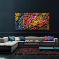 Jackson Pollock Style Multicolored Abstract Painting on Canvas by Nandita, Rich Impasto Color, Office Decor, Wall Art, Modern Art for sale