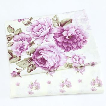 Purple Peony Floral Printed Cotton Cloth by half meter for For Bedding Sewing Patchwork Quilting Fabrics Sewing DIY Cloth
