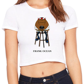 Frank Ocean In Funny Cartoon Crop T-shirt