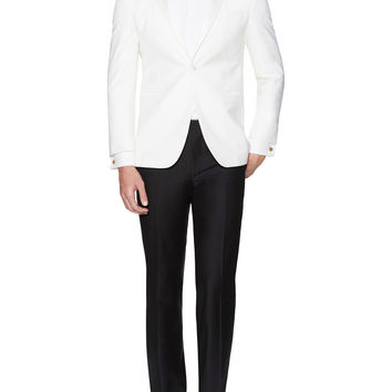 Yves Saint Laurent Pour Homme Men's Classic Peak Lapel Tuxedo - White