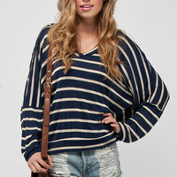 Got Your Back Striped Hoodie in Blue :: tobi
