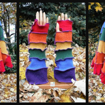Rainbow Hooded Poncho & Matching Arm Warmers Recycled From Wool, Angora and Nylon Sweaters