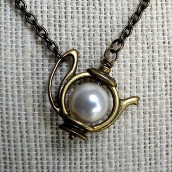 Vintage Inspired Whimsical Pearl Alice in Wonderland Teapot Necklace Bridesmaid Bridal Flower Floral Gift Handmade Brass Cable Chain Friend