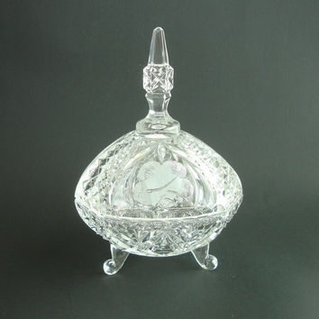 Vintage EAPG Covered Glass Dish, Tall Compote, Lidded Candy Bowl, Footed Cut Glass Candy Dish, Etched Rose Flowers